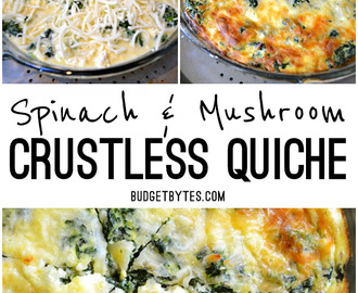 Spinach Mushroom and Feta Crustless Quiche