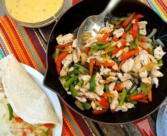 Grilled Chicken Fajitas with Jalapeno Cheese Sauce