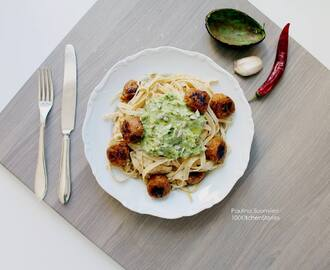 "Chili and Lime ""Järpish"" w Bean Pasta and Avocado Pesto"