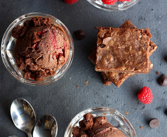 Raspberry Dark Chocolate Ice Cream with Brownie Chunks