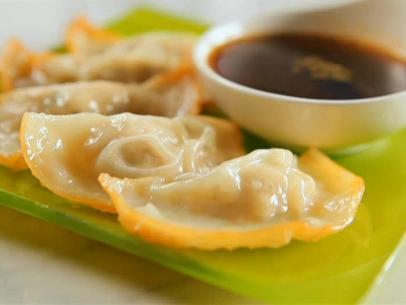 Pan-Fried Chicken Dumplings with Sweet and Spicy Dipping Sauce