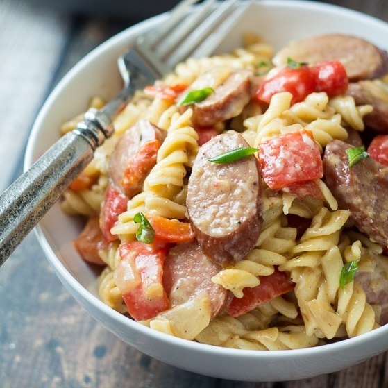 Sausage and Pepper One Pan Pasta Skillet