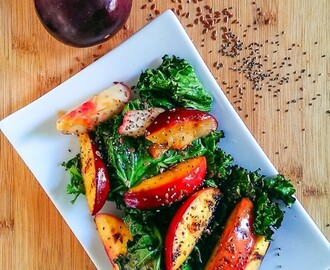 Grilled Summer Fruit and Kale Salad