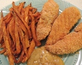 "Faux ""Fried"" Chicken Tenders and Sweet Potato Fries"