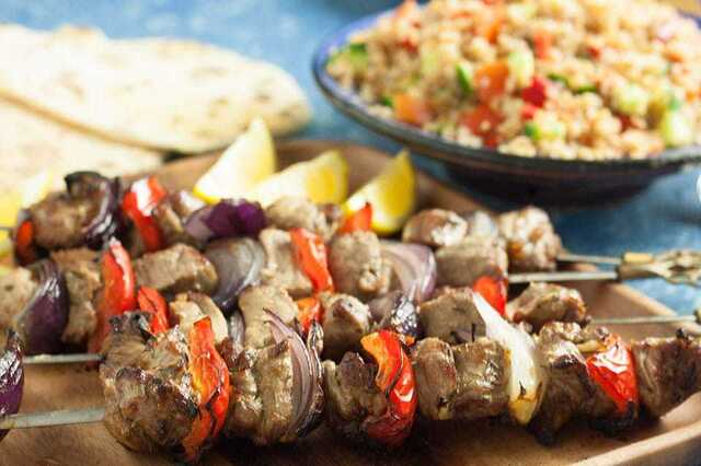Easy Lamb Kebabs with peppers and onion