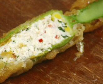 Crispy Zucchini Flowers Stuffed with Ricotta and Mint