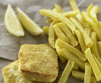 "Vegetarian ""fish"" and chips"