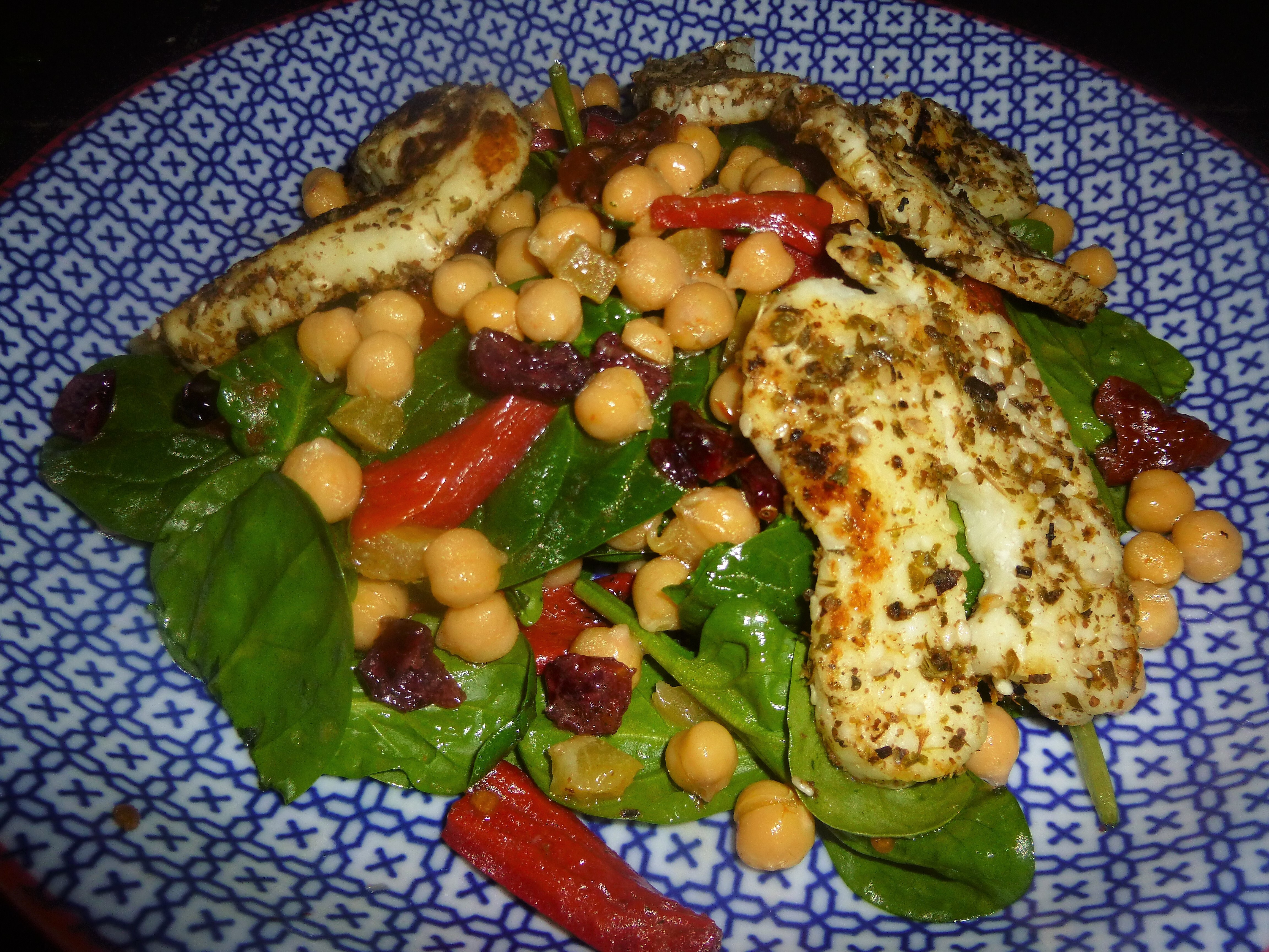 Zaatar Halloumi on a Spinach and Chickpea Salad with a Mint, Lemon and Honey Dressing Recipe