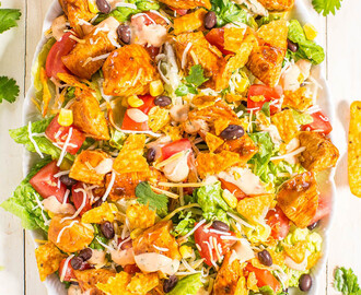 Loaded Chicken Taco Salad with Creamy Lime-Cilantro Dressing
