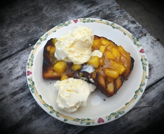 Grilled Pound Cake with Bourbon Peach Sauce