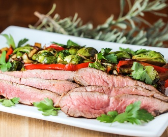 Flank Steak and Warm Brussels Sprouts Salad with Bacon Vinaigrette