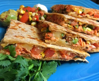 7/19/14 ChefElla's Spicy Salmon Quesadilla with Grilled Corn Salsa