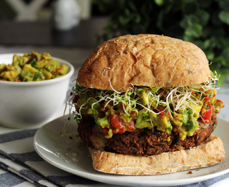 Mushroom & Lentil Burgers with Roasted Red Pepper Guacamole & Sprouts