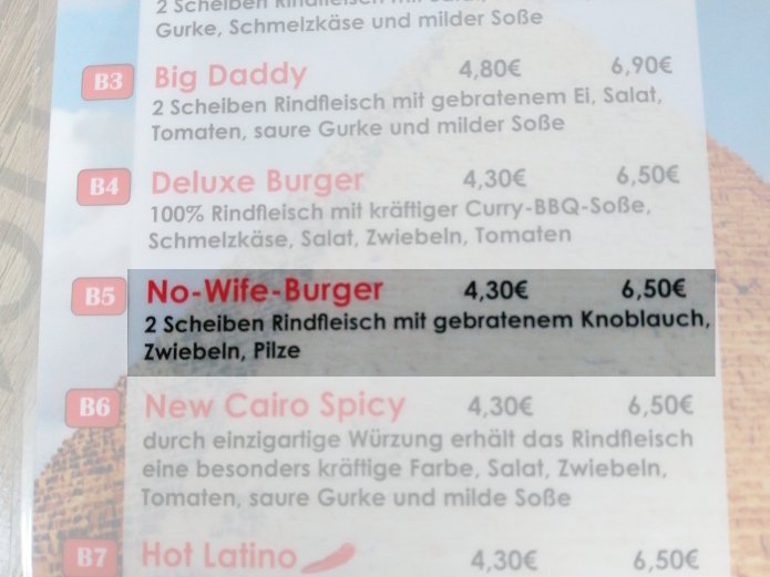 Fundstück: No-Wife-Burger