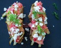Roasted fennel, rhubarb, radish & feta bruschetta