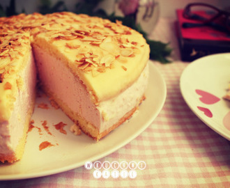 Sponge cake with jelly-cream mass and white chocolate