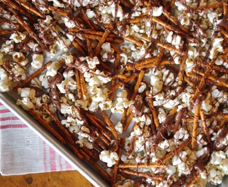 Chocolate Drizzled Popcorn & Pretzels | Easy No-Bake Gift