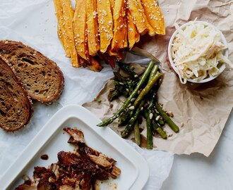 Pulled Pork, Sesame Seed Sweet Potato Fries, Coleslaw, Grilled Garlic Asparagus & Sourdough Bread