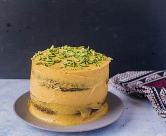 Eggless Masala Chai Cake with Cashew-saffron Cream Frosting , Vegan Cake and Vegan Cream