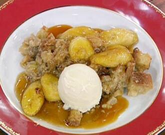 Bananas Foster Bread Pudding with Vanilla Ice Cream and Caramel Sauce