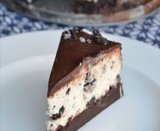 Oreo cheesecake på browniebotten med Nutellatopping