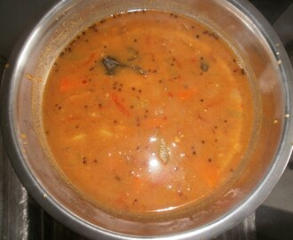 South indian hot toor dal sambar/simple spicy sambar for rice/step by step pictures