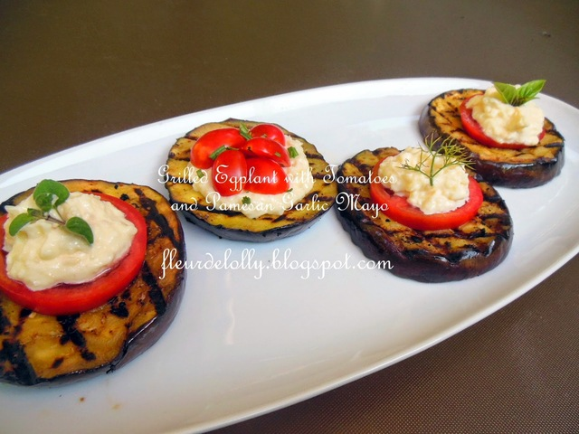 Tapas Thursday - Grilled Eggplant with Tomatoes and Parmesan Garlic Mayonnaise