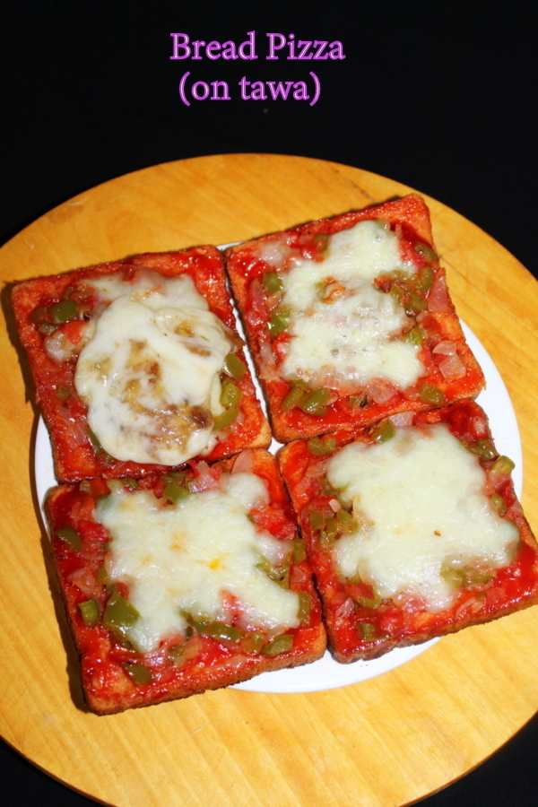 bread pizza recipe | bread pizza on tawa | without oven