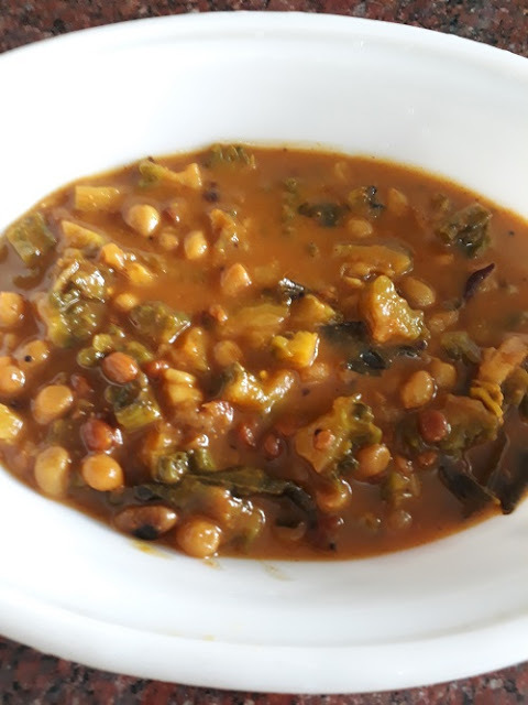 Pavakkai Gojju - Bitter Gourd in Sweet and Spicy Tamarind Gravy