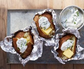 Camping Baked Potatoes with Herbed Sour Cream