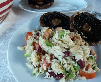 Grilled Beef Mushrooms with Rice Salad
