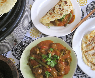 Ostrich kofta and green bean curry with Mielie Meal roti's