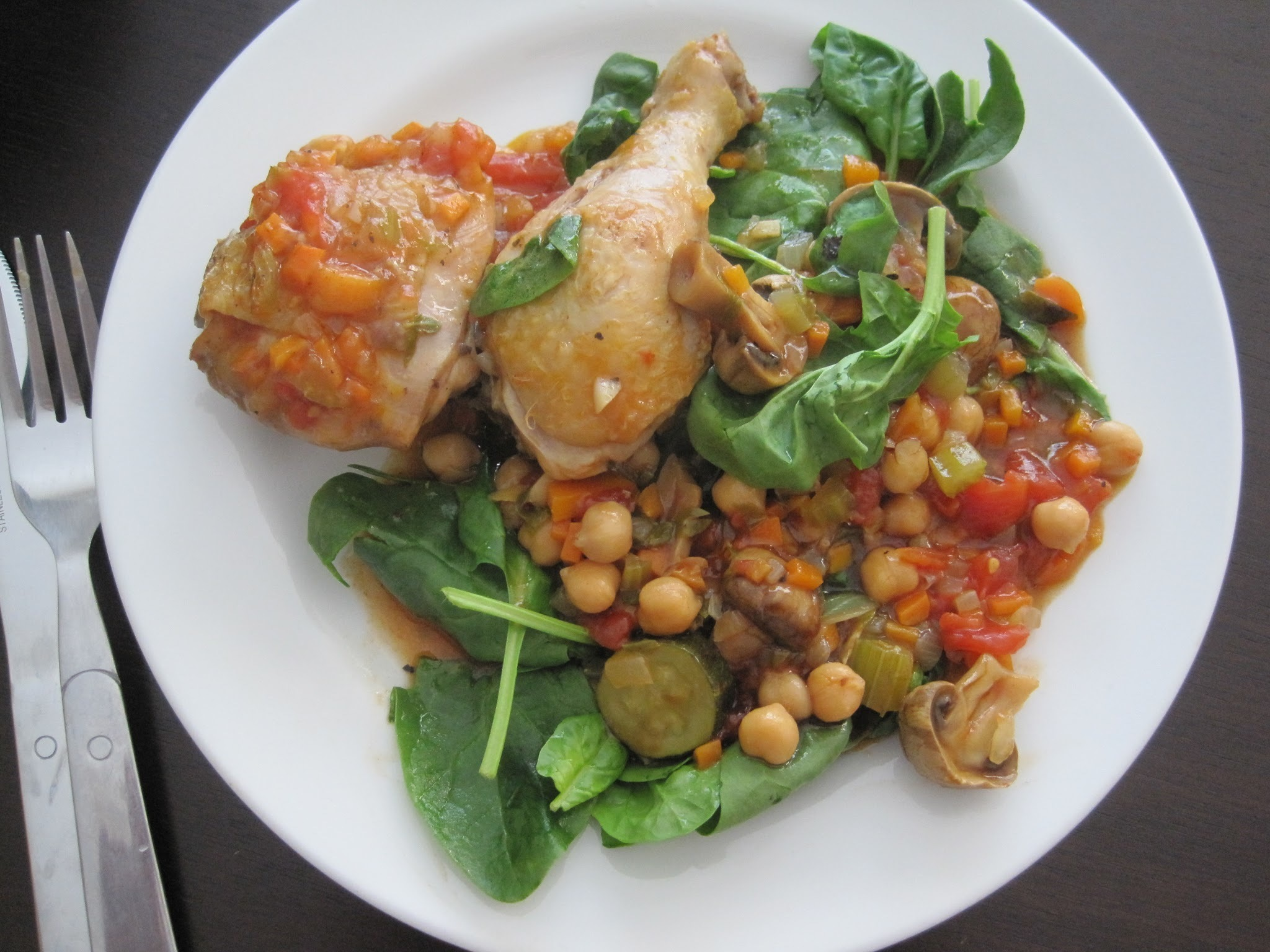 Tomato, Chicken and Chickpea Casserole