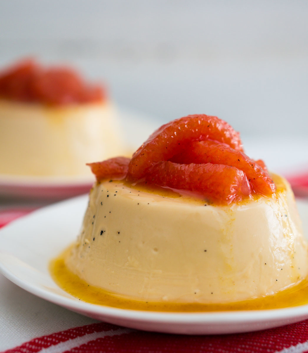 Rooibos Panna Cotta with Poached Grapefruit