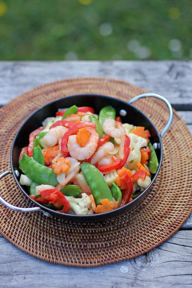 Stir Fried Prawns and Mixed Vegetables