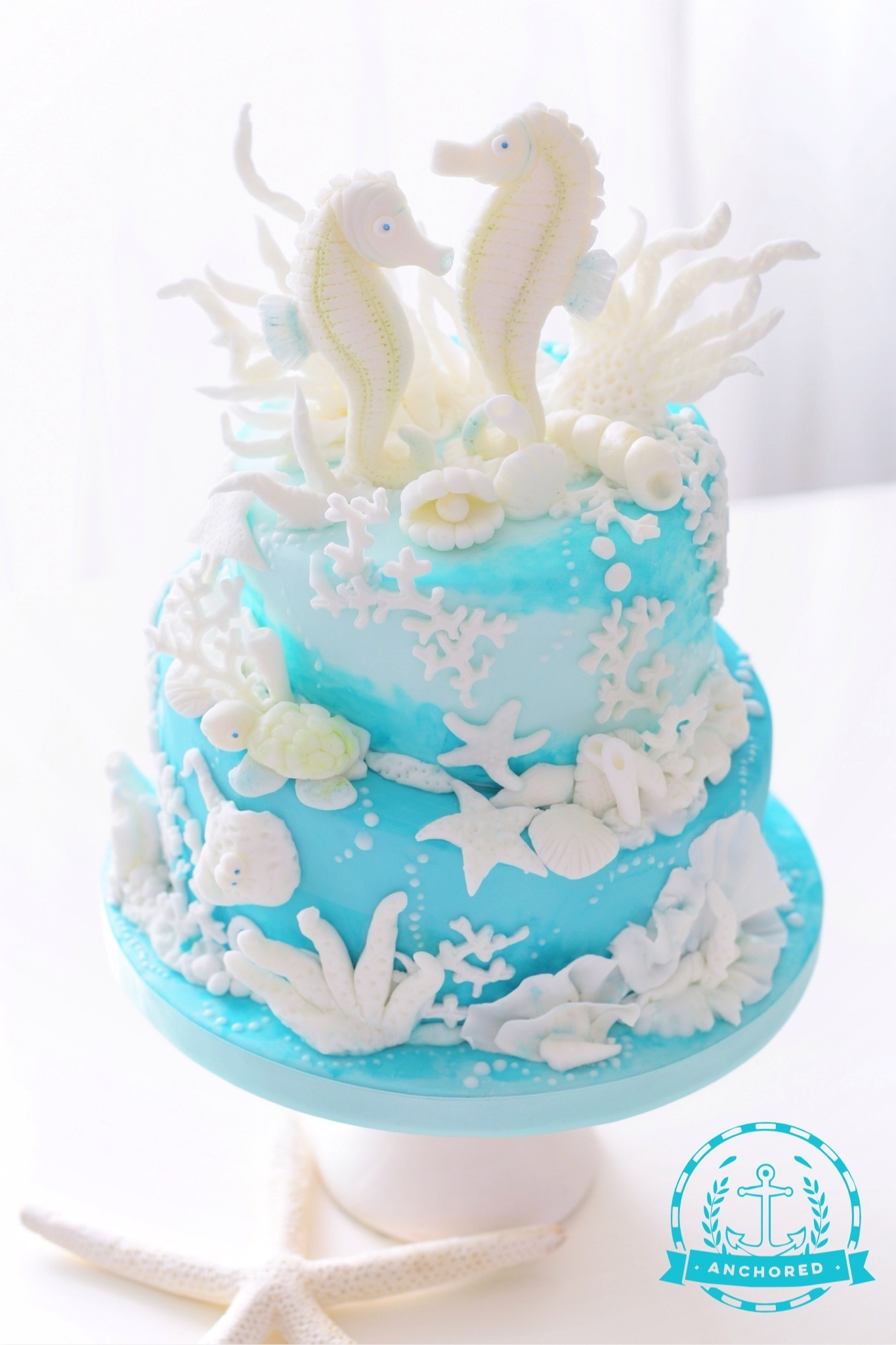 Aquamarine Torte mit Seepferdchen – youtube Video