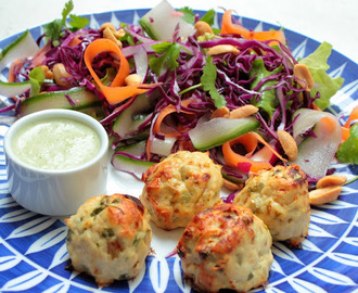 Thai chicken meat ball salad with zesty coriander satay dressing
