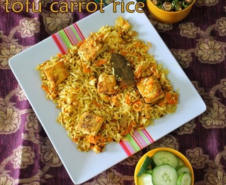 Carrot tofu rice/pepper flavor carrot rice with soya milk cheese/How to make simple firm tofu rice/ vegan rice recipes/Step by step pictures