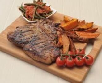 Grilled T-bone Steaks with Roasted Sweet Potato and Green Beans