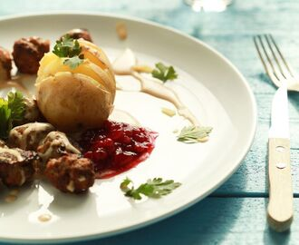 Homemade IKEA food: swedish meatballs with potatoes, brown sauce and lingonberry jam