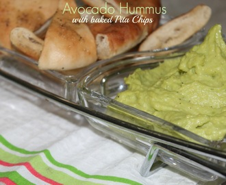 Avocado Hummus with Baked Pita Chips recipe