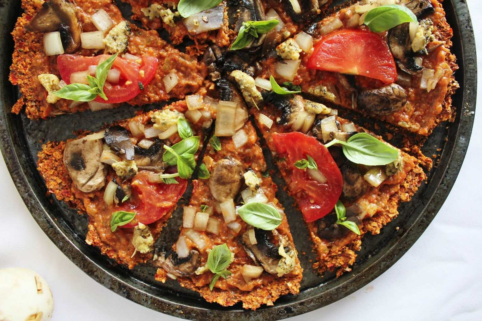 Raw Vegan Pizza with Red Pepper Flax Crust