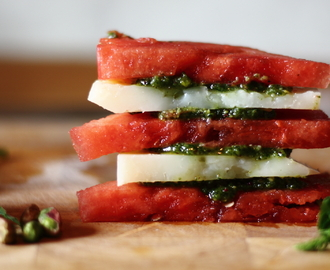 Watermelon Manchego Stack with Pistachio Pesto (low carb)