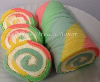 MultiColour-Striped Swiss Roll with Vanilla Buttercream