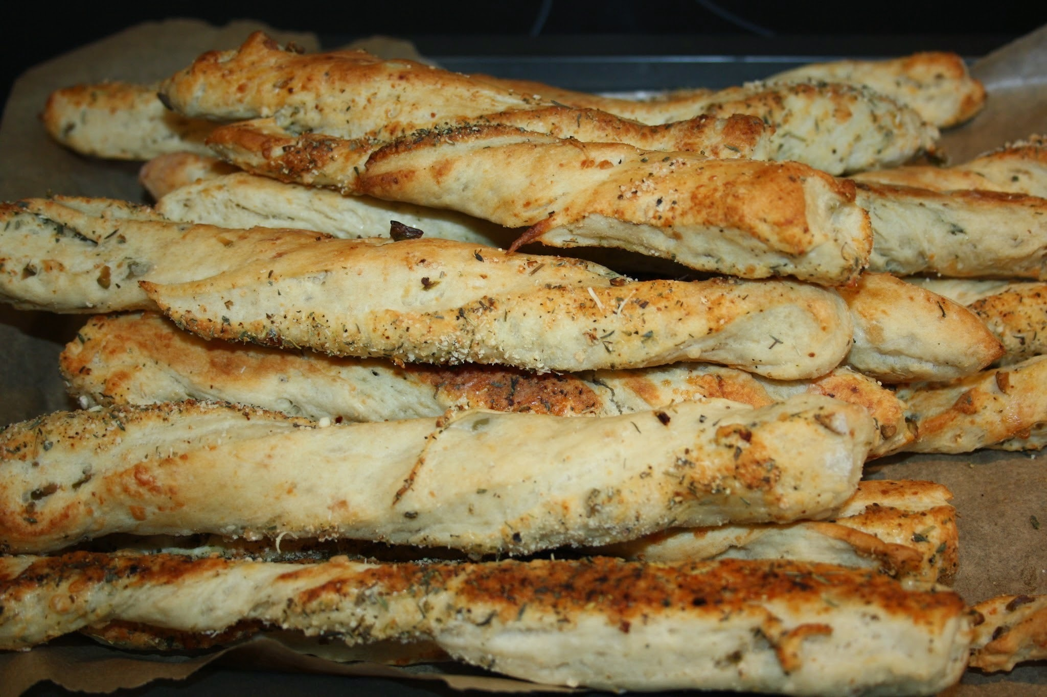 Blue Cheese, Parmesan and Green Olive Bread Sticks