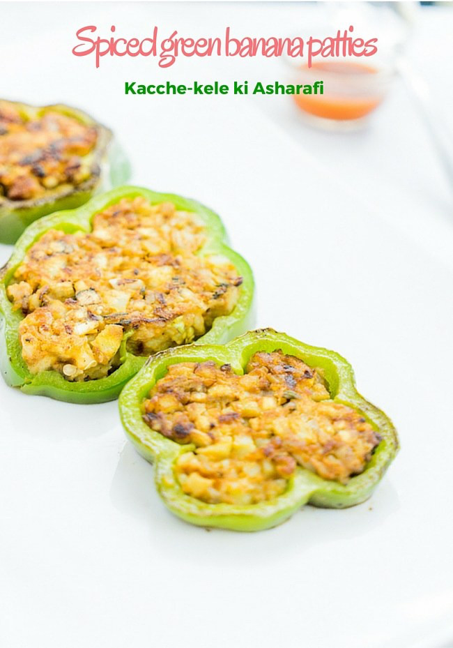 spiced green banana patties/stuffed capsicum recipe