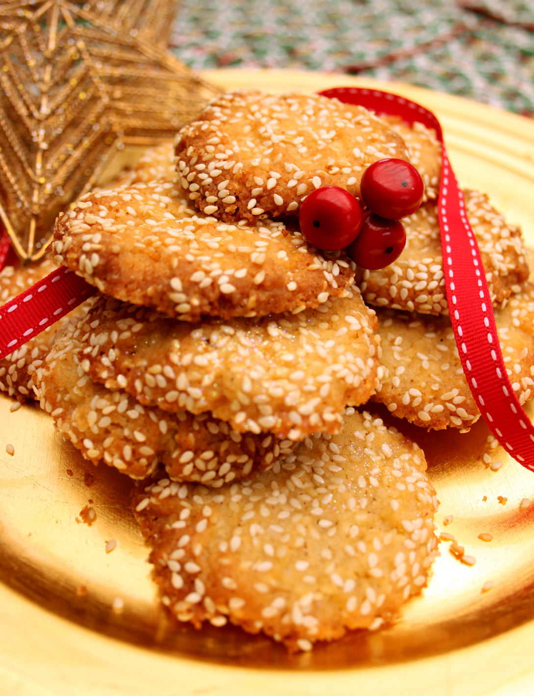 Festive Sesame Snap Cookies Recipe