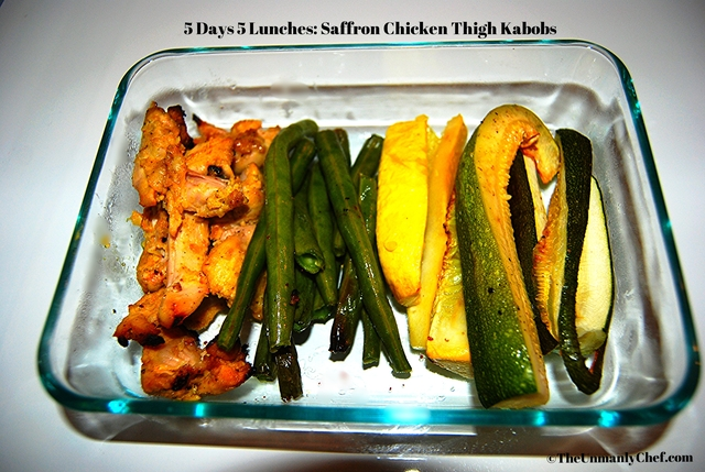 5 Days 5 Lunches: Saffron Grilled Chicken Thigh Kabobs