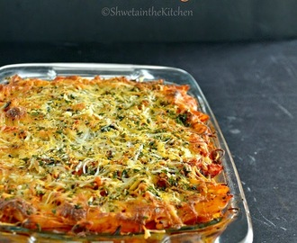 Baked Roasted Vegetable Pasta Recipe - Baked Penne with Roasted Vegetables - Baked Vegetable Pasta