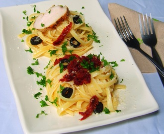 Fettucini Aglio Olio with Grilled Chicken and Crispy Canned Corned Beef